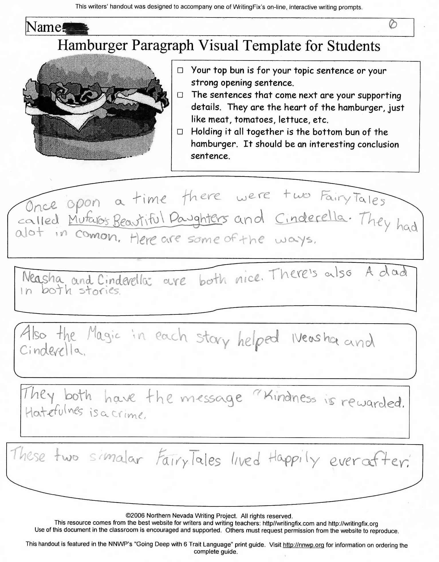 hamburger paragraph writing template